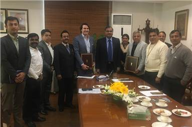 The company representatives with Raghavendra Rao, secretary, department of chemicals & petrochemicals