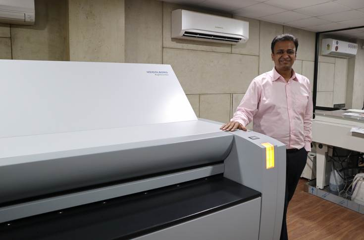 Sanket Todi, director, Krishna Creations, with the new Heidelberg Suprasetter