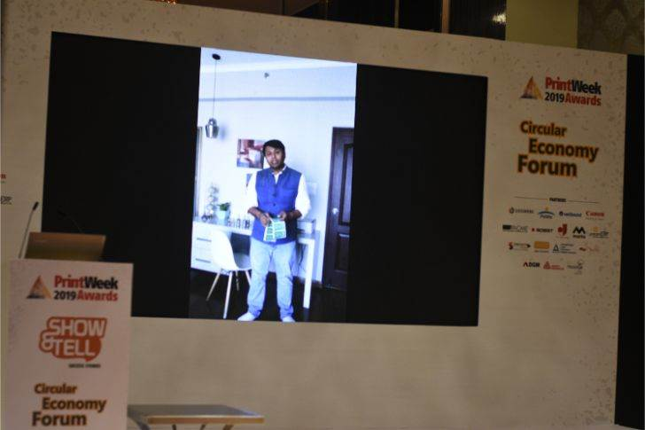 Anuj Bhargava of Kumar Labels, in a pre-recorded video, shares the sustainability of double-sided labels the company manufactures