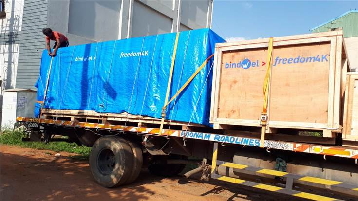 In early September, the Bindwel Freedom 4K was loaded on to the truck. The Bindwel is ready to move from Peenya, Impel-Welbound's manufacturing plant in Bengaluru. The Signa gathering system had already arrived and was waiting for the Bindwel to arrive