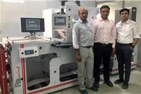 Bhavya Shah (left) and Manish Patel (right) of Shreedhar Labels with Amit Desai of Baldwin Vision Systems
