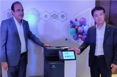 (l-r) Kuldeep Malhotra, vice-president (office sales and marketing) and Daisuke Mori, managing director, Konica Minolta Business Solutions India