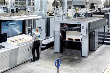 The latest Speedmaster press boasts speeds of up to 16,500 sheets per hour