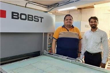 (l-r) Vinay Aggarwal of Aggarwal Pack Products and Chandrashekhar Dhote of Bobst with the new Bobst Novacut 106 E 3.0