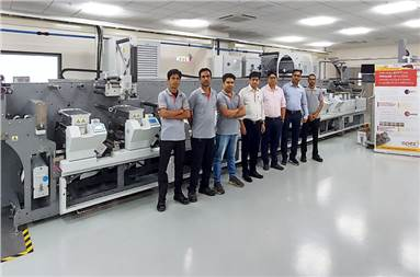 Team Apex with the new Bobst M5 430 press at the FlexoKITE experience centre in Sinnar, Nashik