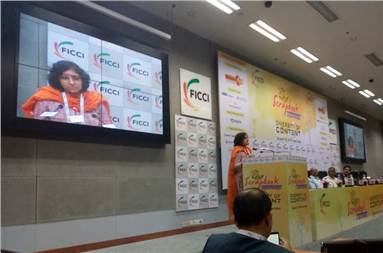 Karthika VK, co-chair, Ficci publishing committee and publisher, Westland, during the event