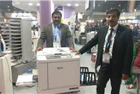 (l-r) Vivek singh and Ranjith Kadiroo of Riso with the new launch SF 9390