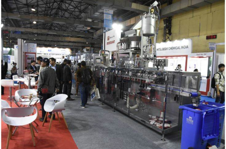 Bossar's horizontal-form-fill-seal machine, BMK 2600, was demonstrated live at the show