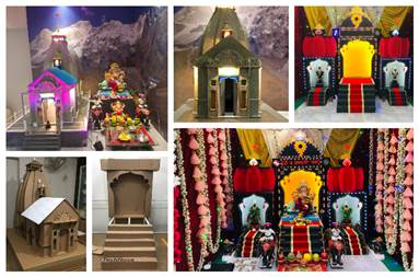 Ganesh Chaturthi decorations at Jaju's residence in 2019 and 2020