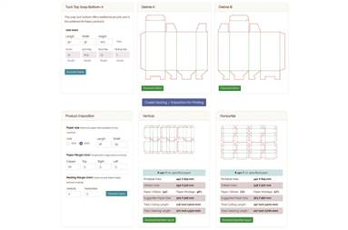 PezaPackLite is a cloud-based die-line and nested imposition generator