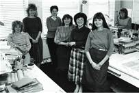 Fiona Ross (centre foreground) with the team at the Typographic Department at Linotype in 1983