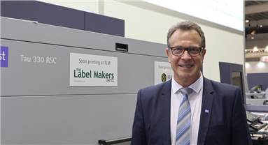 The new hybrid Tau 330 RSC running live at the show is a 330mm (13inch) UV inkjet press and can achieve a print speed of 78 linear mtr/min at 1,200x1,200dpi resolution