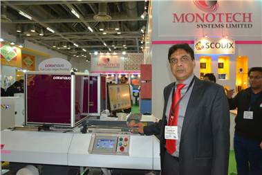 TP Jain, managing director, Monotech, with the Colornovo, the company's Made in India digital label press