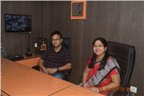(from left) Tanmoy Roy Chowdhury and his wife Anamika, the owners of New Manikya Press