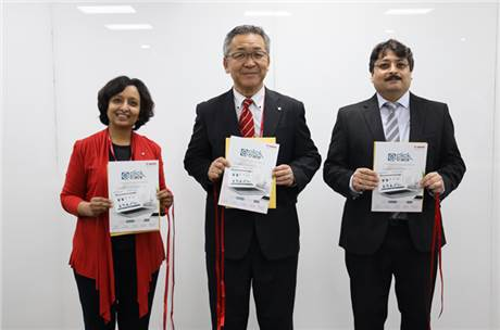 (l-r) Shikha Rai, vice-president, IT & HR, Kazutada Kobayashi, president and CEO, and Puneet Datta, senior director, PPP, Canon India at the launch
