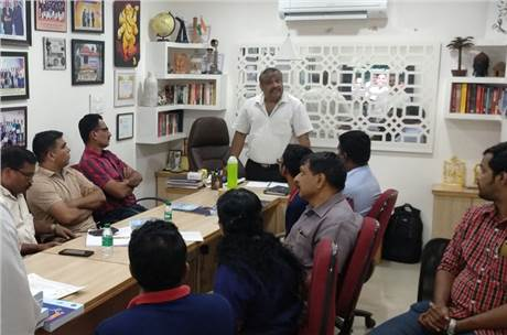 G Venugopal addresses his team during the training session