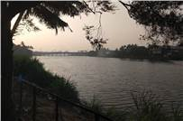 The otherwise tranquil look of the Periyar as seen from the front of Cochin Printech