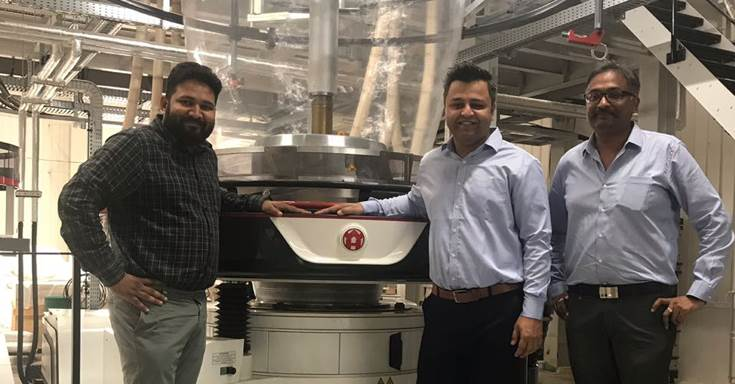 The company has also backward integrated with a new 2.8-metre wide W&H Varex three-layer blown film line. In picture (l-r): Pranav Bhalara of Balaji Multiflex, Anuj Sahni and Vineet Gupta of W&H