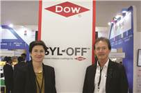 Meike Wesseling, global segment leader, functional coatings, Dow Silicones, Belgium and Dr Stephen Cray, technology leader, pressure sensitive industries, Dow Silicones UK at the show