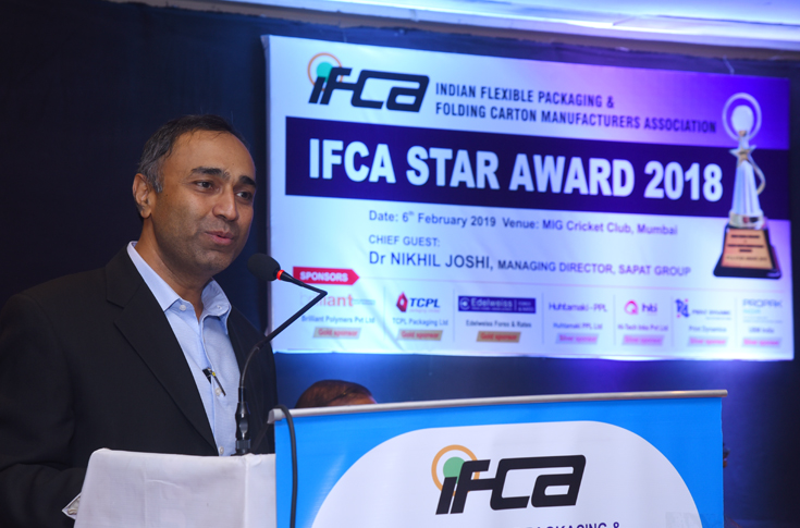 Dr Nikhil Joshi, managing director, Sapat Group, the chief guest of the IFCA Star Awards 2018