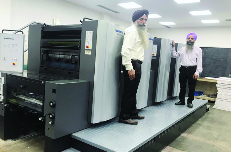 Gurinder Singh and Ravinder Singh of Printwell with the Speedmaster SX 74 four-colour press