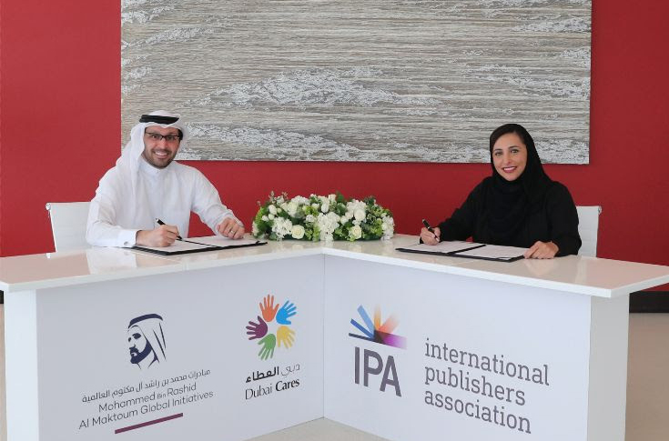(r-l) Her Excellency Sheikha Bodour Bint Sultan Al Qasimi, vice-president of the International Publishers Association (IPA), and His Excellency Tariq Al Gurg, chief executive officer of Dubai Cares