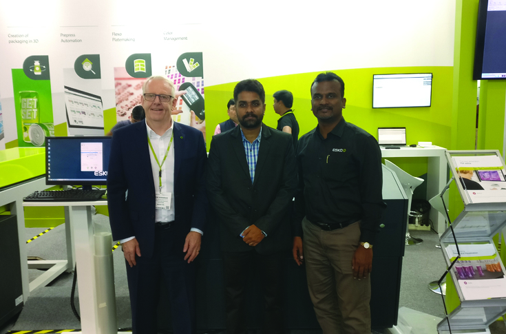 Neelakandan Gopalakrishnan (C), CEO, Sai Enterprises, with the Esko team