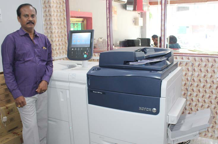 S Hariharan, proprietor, Bhavatharani Digital Prints, with the Xerox Versant 180
