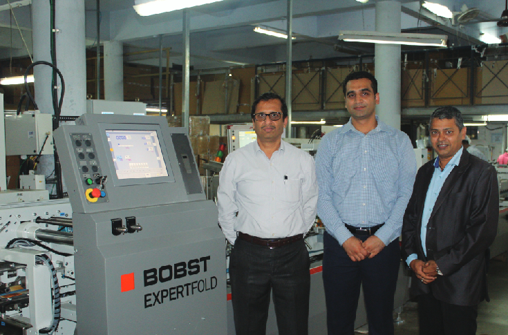 (l-r) Bhotica with Bobst's Suraj Sharma and Sachin Patil