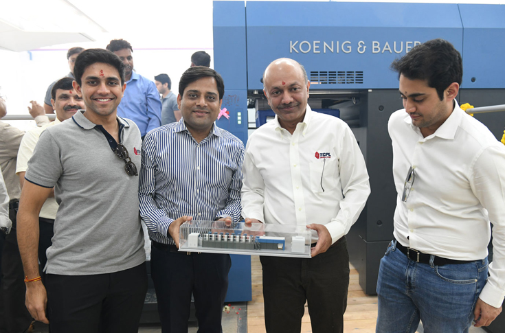 (l-r): Akshay Kanoria, director, TCPL Packaging; Aditya Surana, managing director, Indo Polygraph Machinery; SaketKanoria, managing director, TCPL Packaging; Vidur Kanoria, director of TCPL Packaging