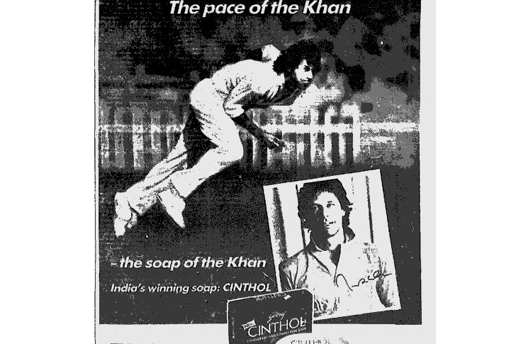 A print ad for Cinthol from the 1980s featuring Imran Khan