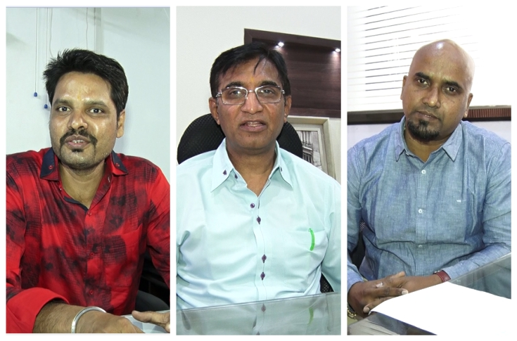 (l-r) Ashish Jain of Arham, Dilip Shah of Devharsh, Rajeev Nair of Flora Prints