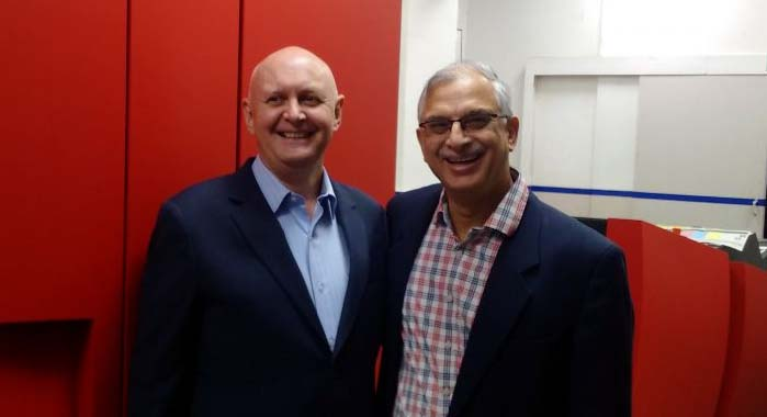 Bent Serritslev (l) of Xeikon with CJ Jassawala of Thomson Press
