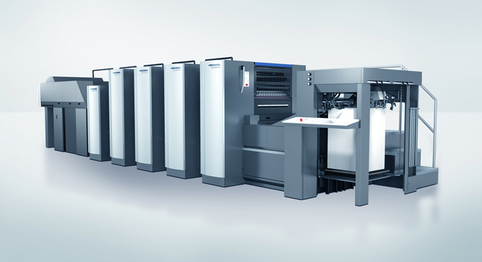 The Heidelberg Speedmaster CX 75 can run with classic UV for carton printing as well as LE-UV and LED UV