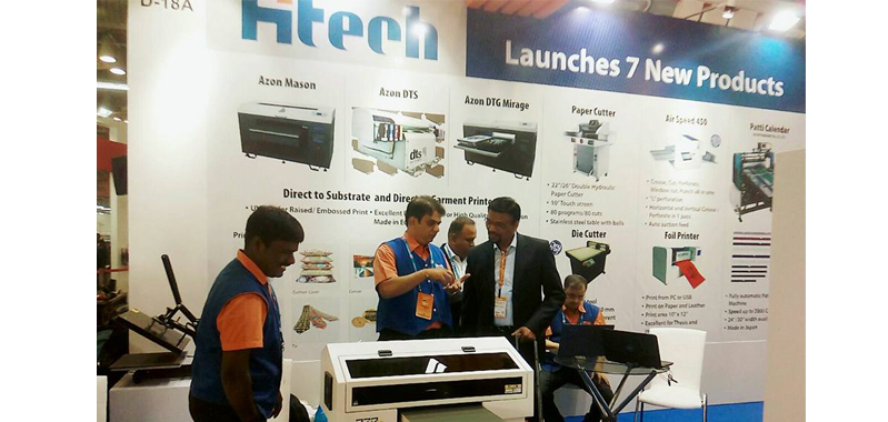 (c) Shah at Hi-Tech stall during PrintPack India show