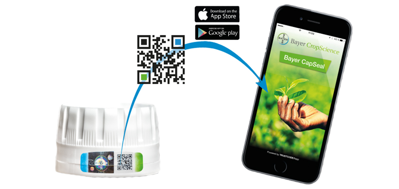 The Bayer CapSeal is a cap seal with visual security features and a QR code