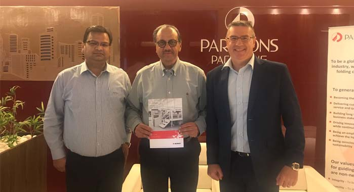 (c) Ramesh Kejriwal, chairman of Parksons Packaging with the Bobst team