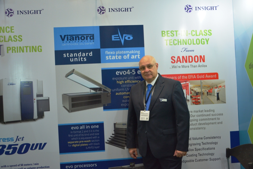 Massimiliano Merlo, global director, marketing and sales, Vianord Engineering at Labelexpo India 2016