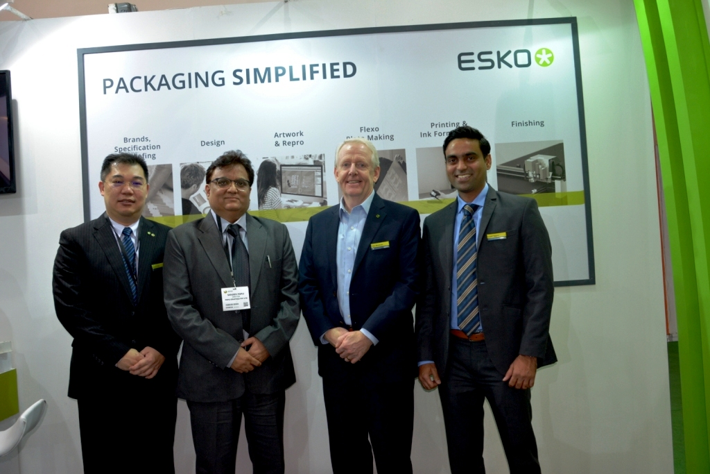 Sanjeev Popli of Popli Graphics (second from left) and John Winderam of Esko (third from left), with others, at the Esko stall