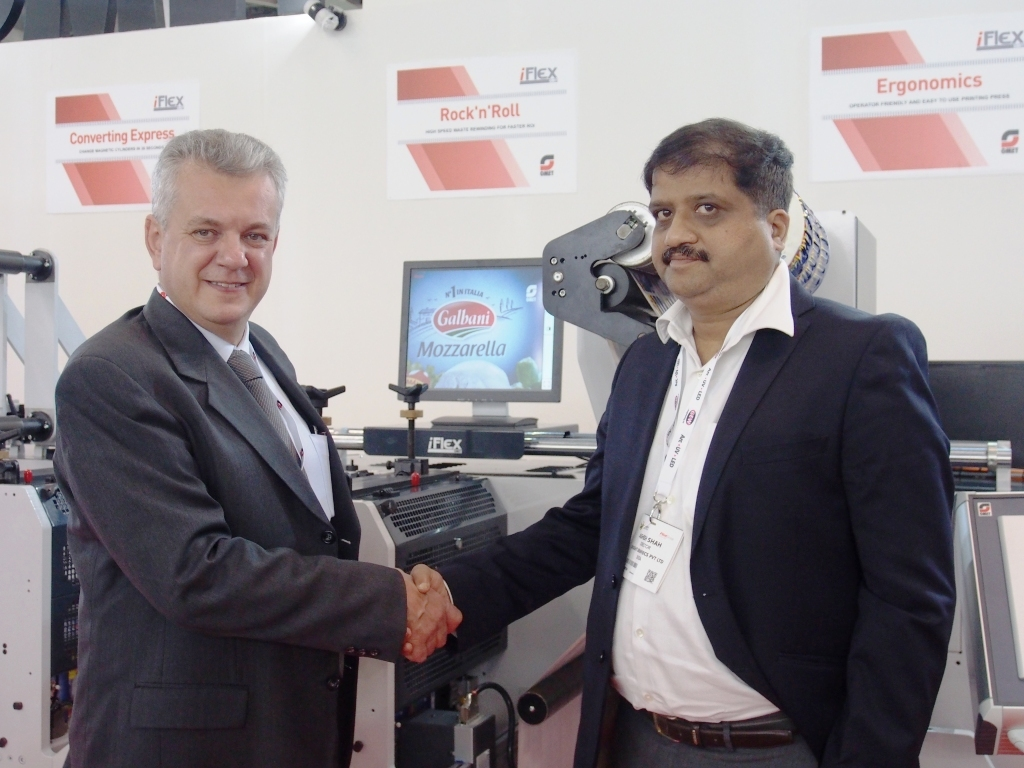 Ashish Shah, director, Insight, with Marco Calcagni, sales and marketing director, Omet