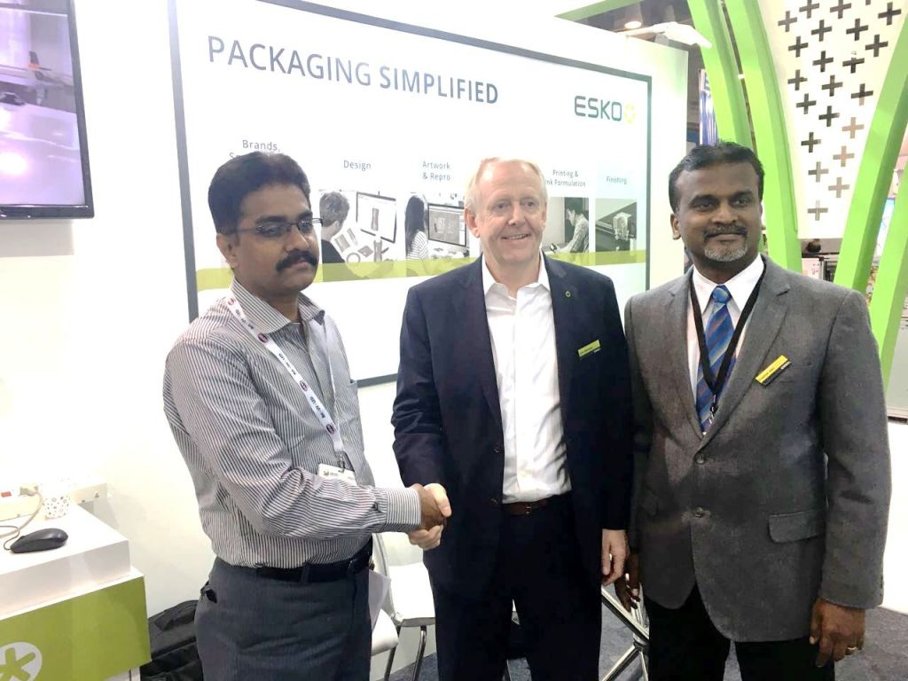 Neelakandan Gopalakrishnan of Sai Enterprises (left) with Esko representatives