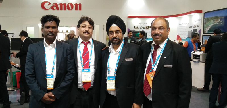 (second from left) According to Datta, Canon India has strengthened its position in the digital printing space since the PrintPack 2015
