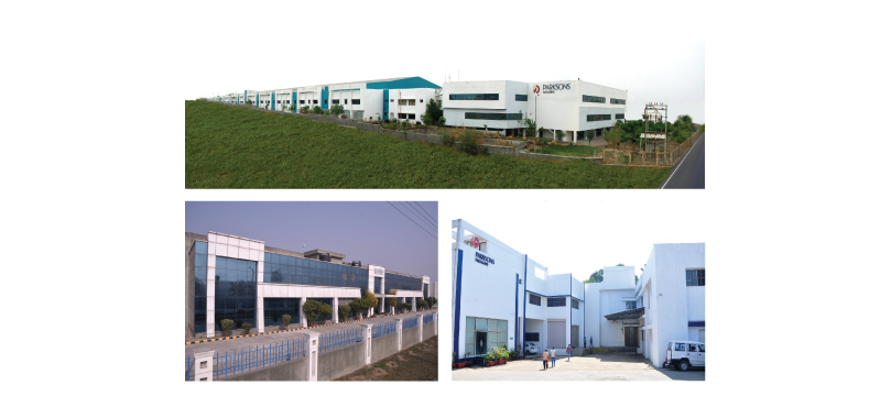 Parksons Packaging : (Clockwise) Chakan, Daman, Pantnagar