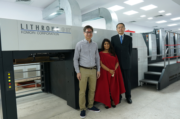 Meghna Modi (centre) of MM Printers with team Komori India