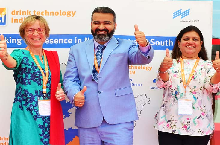 (l-r) Petra Westphal, exhibition group director, Drinktec Worldwide, Bhupinder Singh, CEO, Messe München India and Avisha Desai, project director, Dti